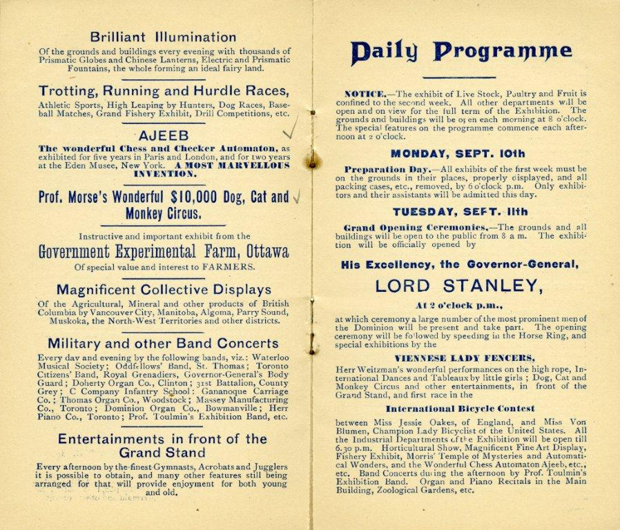 Entertainment Featured In 1888 Programme