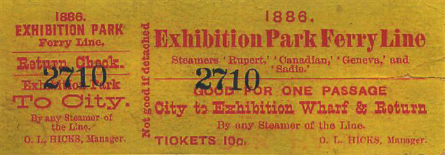1886 Exhibition Ferry Ticket
