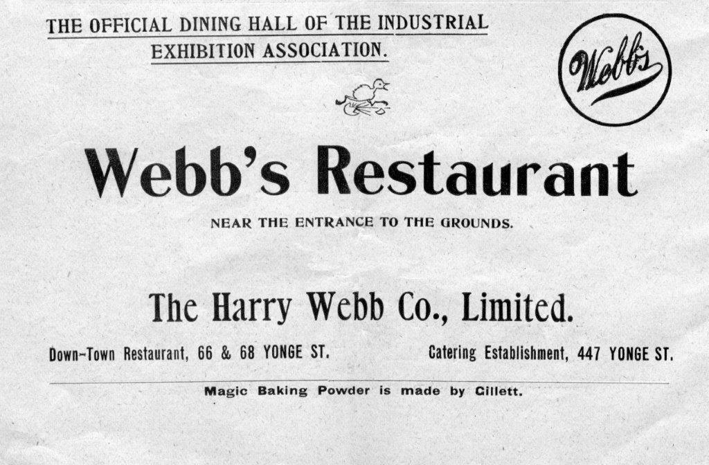 Webb's Restaurant Ad In 1899 Exhibition Programme