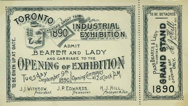 1890 Opening Day Ticket