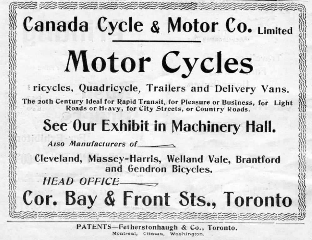 Canada Cycle  and  Motor Co. Ad In Exhibition Programme, 1900