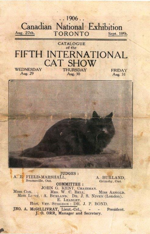 1906 Cat Show Programme Cover