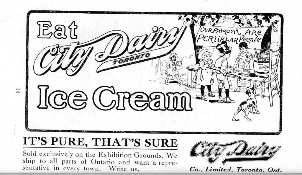 City Dairy Ad In Exhibition Programme, 1916