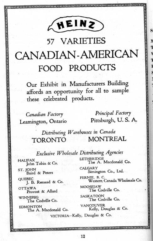 Heinz Ad In Exhibition Programme, 1916