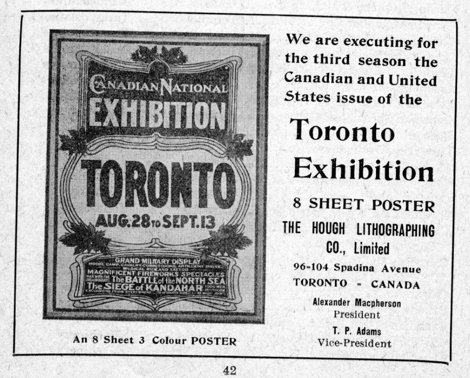 Hough Lithography Ad In Exhibition Programme, 1910