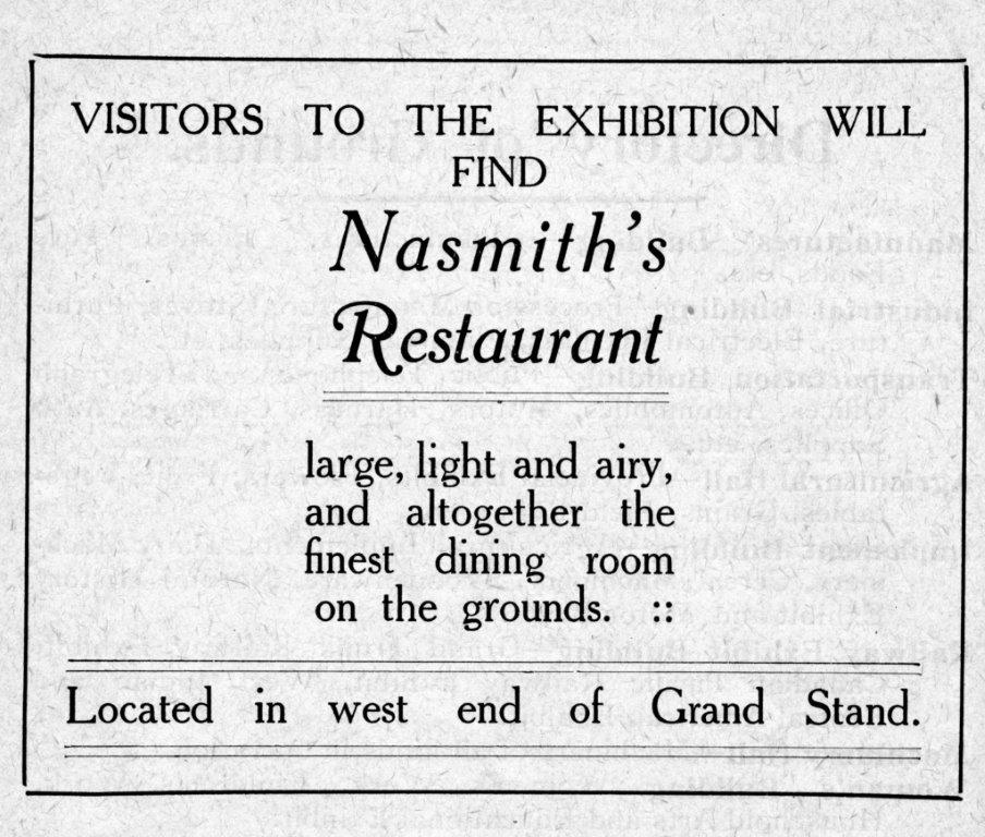 Ad For Nasmith's Restaurant In Exhibition Programme, 1910