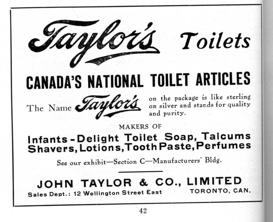 Taylor's Toilet Articles Ad In CNE Programme, 1916