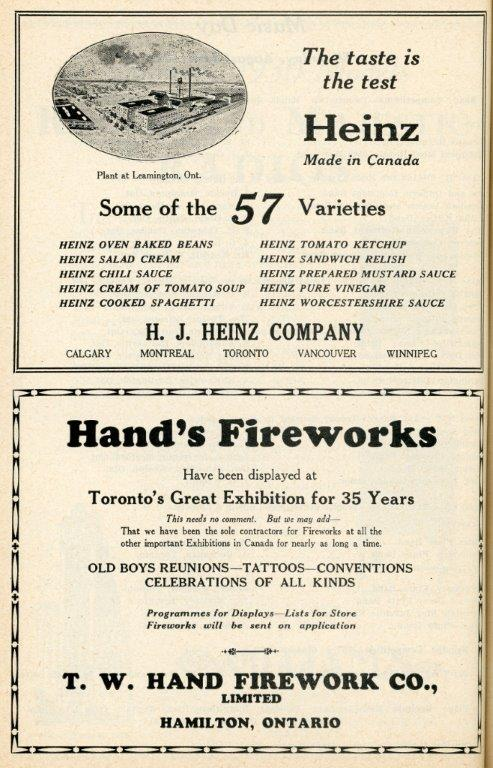 Heinz  and  Fireworks Ads In 1929 Programme