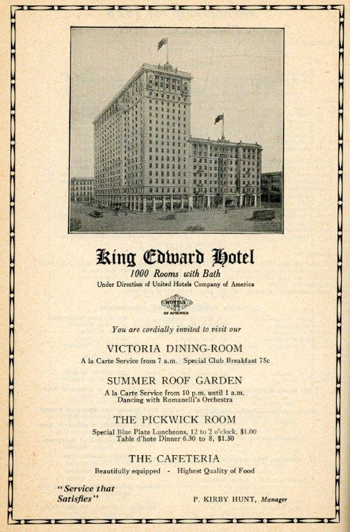 CNE Heritage - Ad For King Edward Hotel In 1929 CNE Programme