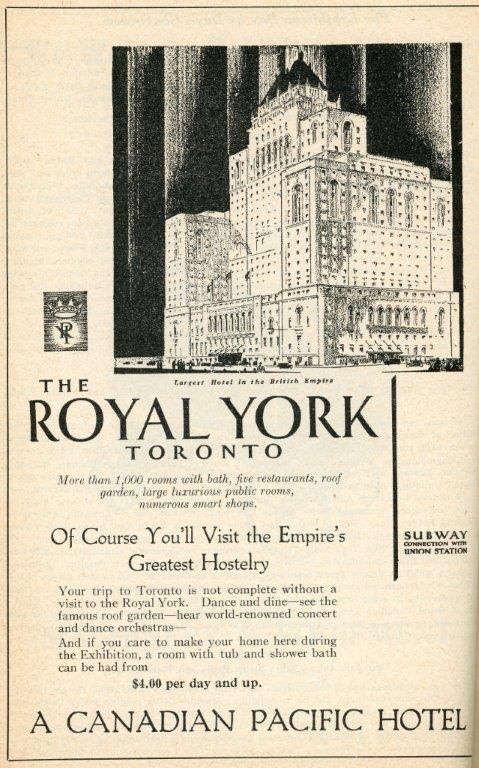 Ad For Royal York Hotel In 1929 CNE Programme