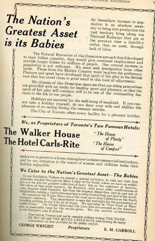 Ad For Hotels In 1929 CNE Programme