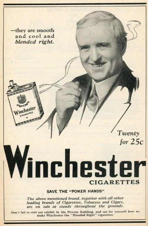 Cigarette Ad In The 1929 CNE Programme