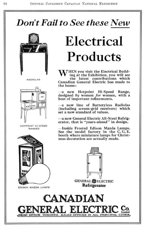 1929 General Electric Ad In CNE Programme