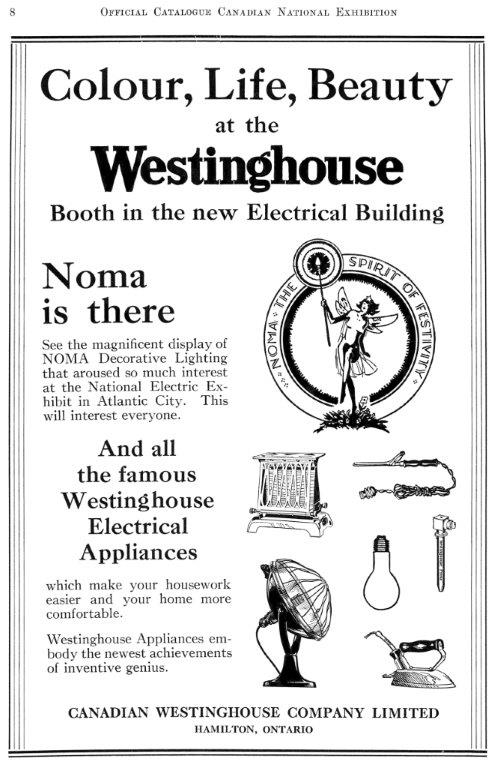 1929 Westinghouse Ad In The CNE Programme