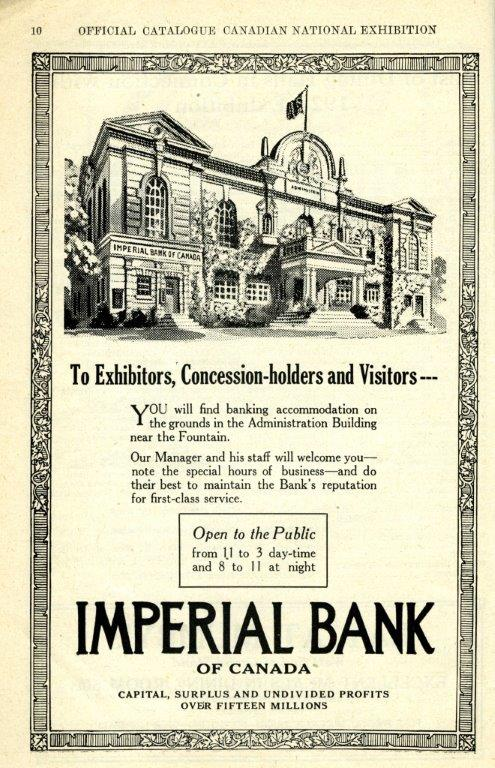 Imperial Bank Ad In CNE Programme, 1928