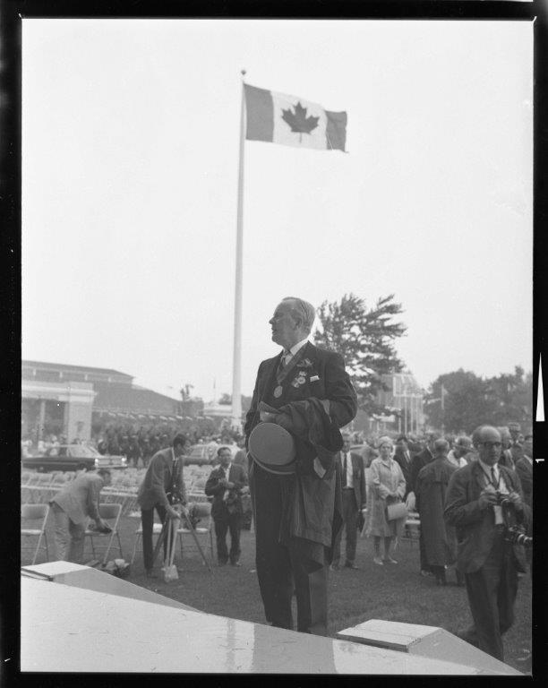 Prime Minister Lester B. Pearson With Canada's New Flag, 1965