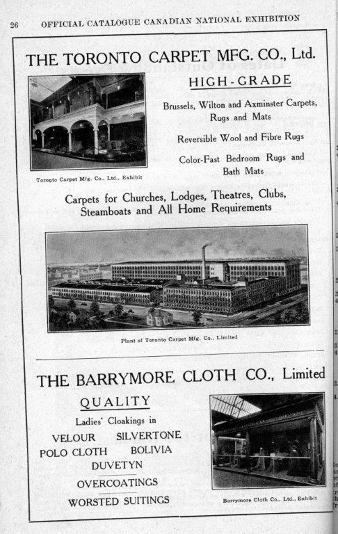 Toronto Carpet Ad In CNE Programme, 1920