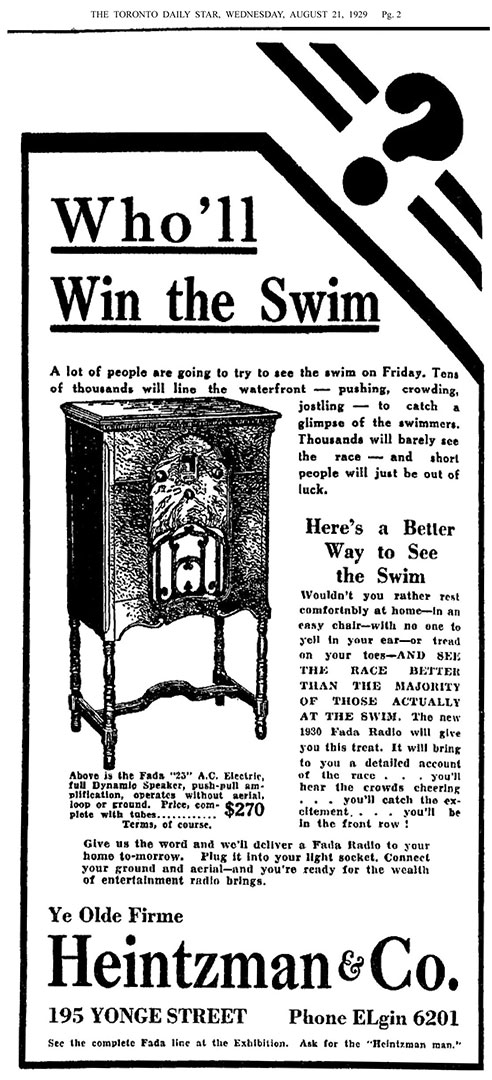 Heintzman  Who Will Win The Swim  Ad, 1929