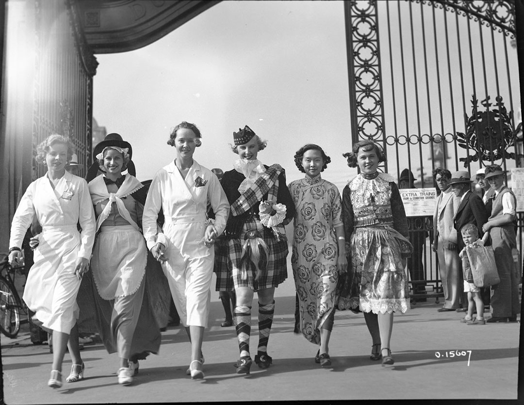 Women Dressed In Costumes By The Dufferin Gate On Music Day, 1930