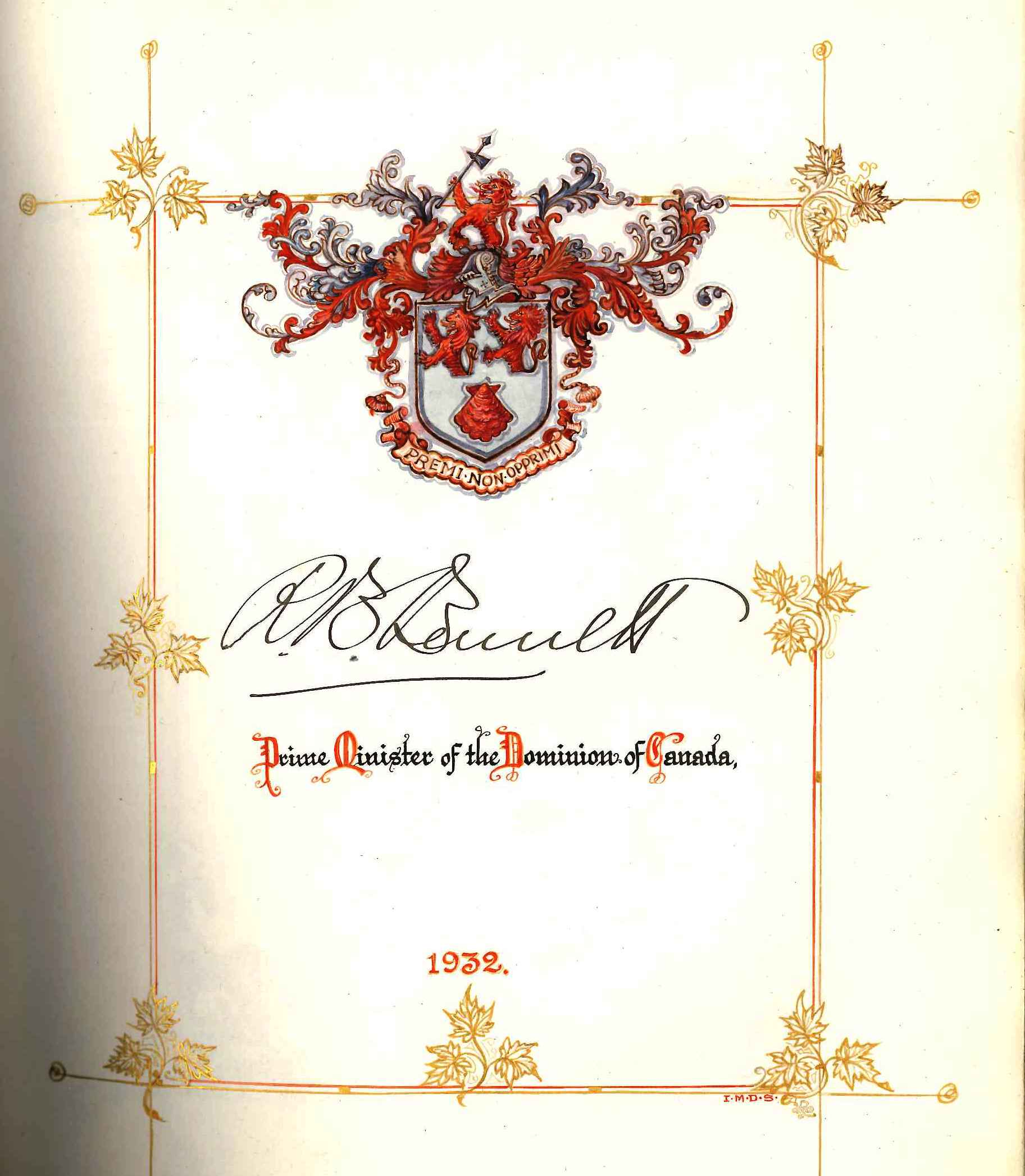 Prime Minister R.B. Bennett's Signature In The CNE Opening Ceremonies Book, 1932