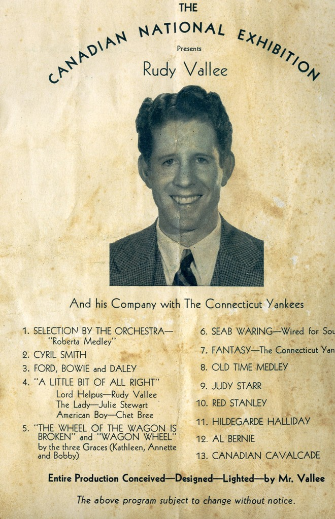 Rudy Vallee In 1935 CNE Fashion Show Programme