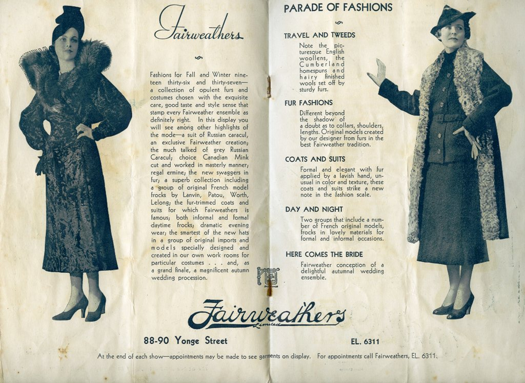 Fairweather's Spread In 1935 CNE Fashion Show Programme
