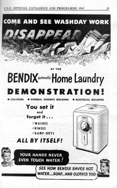 Bendix Washing Machine Ad In CNE Programme, 1947