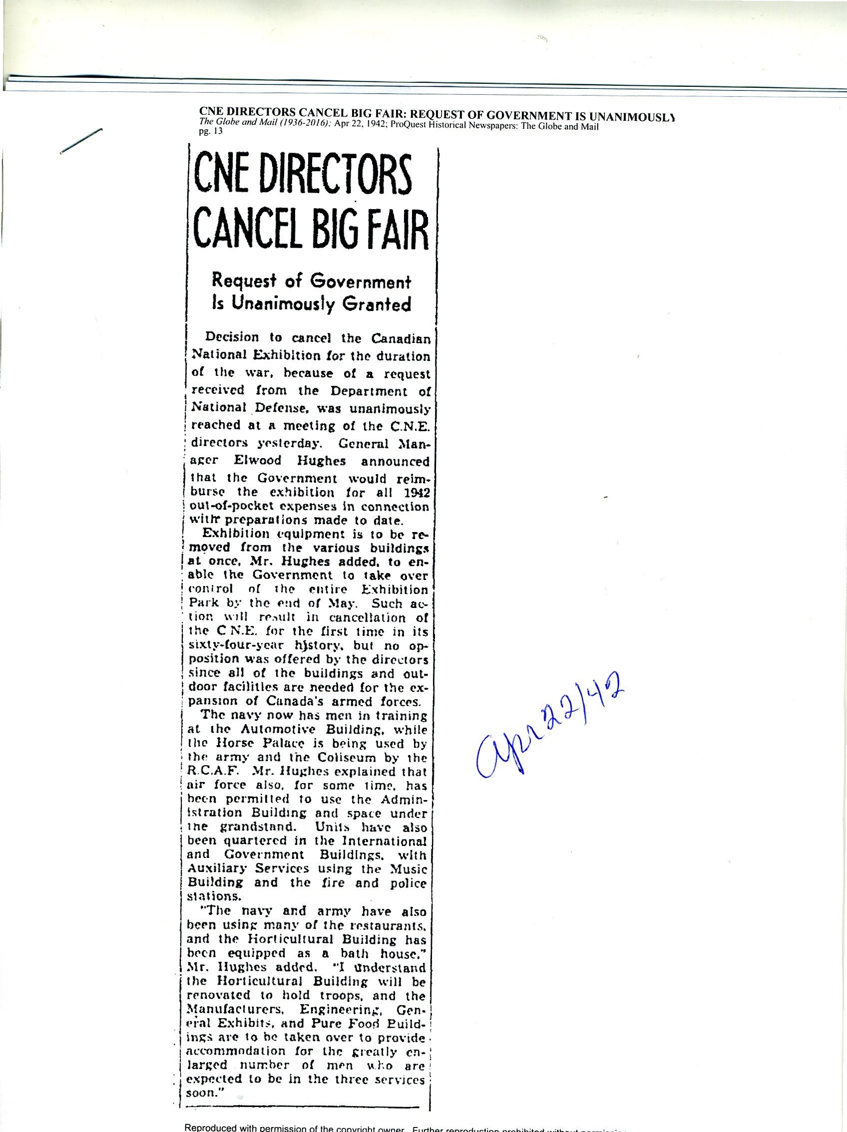 1942 Article About The Cancellation Of The CNE During The War