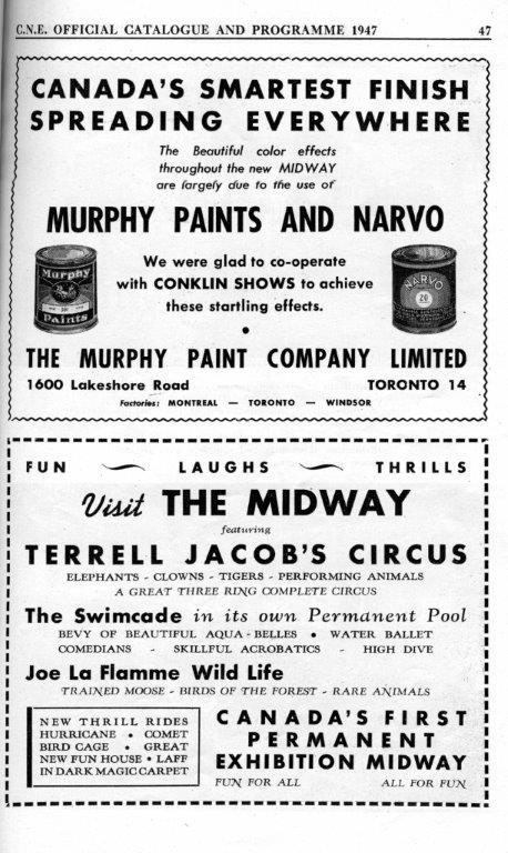 Murphy Paints  and  Midway Circus Ads In CNE Programme, 1947