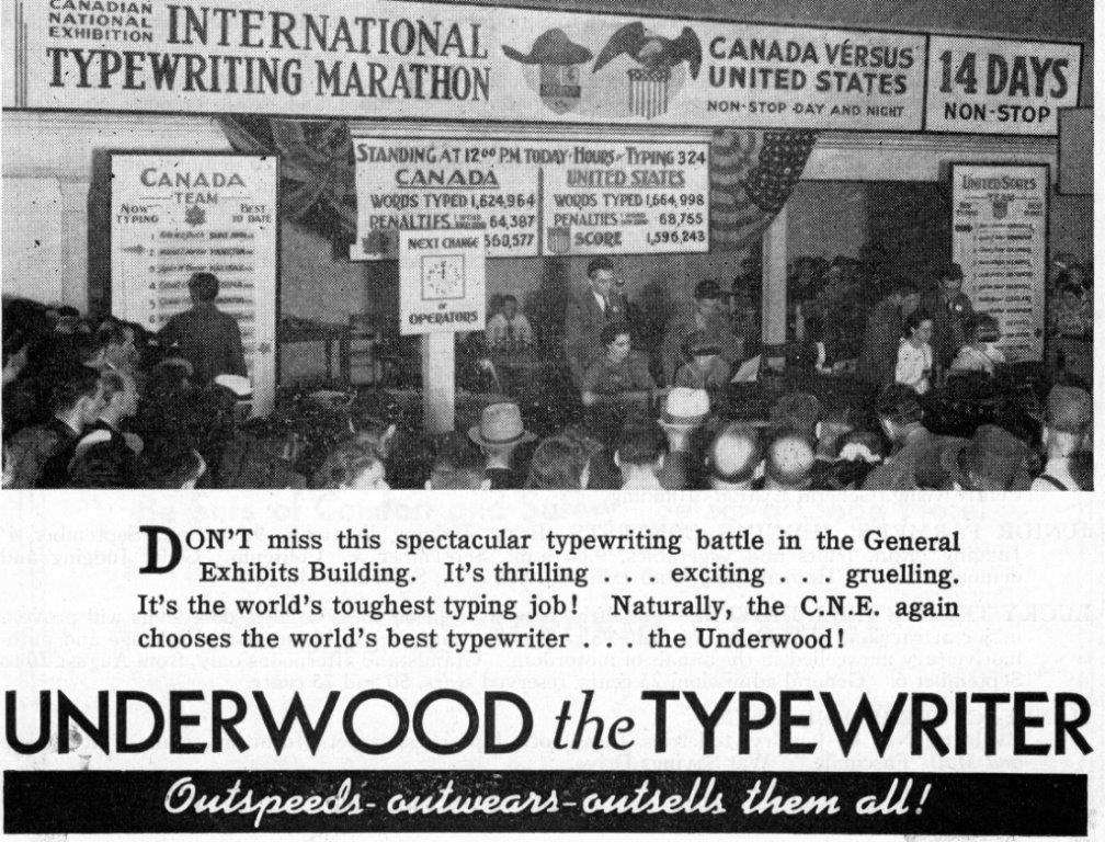 Underwood Typewriter Ad In CNE Programme, 1940