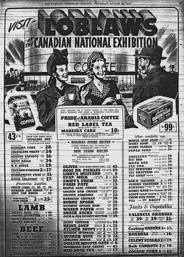 Loblaws Ad In CNE Programme, 1947