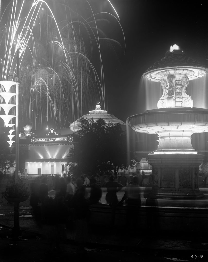 Gooderham Fountain  and  Fireworks At Night, 1940