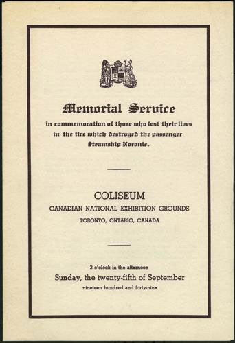 Noronic Memorial Programme Cover, 1949