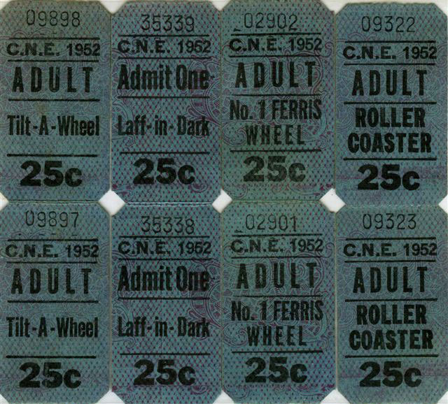 Various CNE Ride Tickets, 1952
