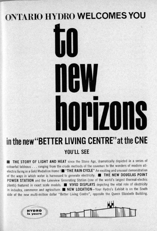 Ontario Hydro Ad In CNE Programme, 1962
