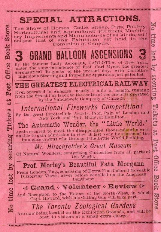 1885 Special Attractions