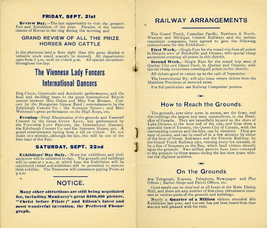 Entertainment In 1888 Programme