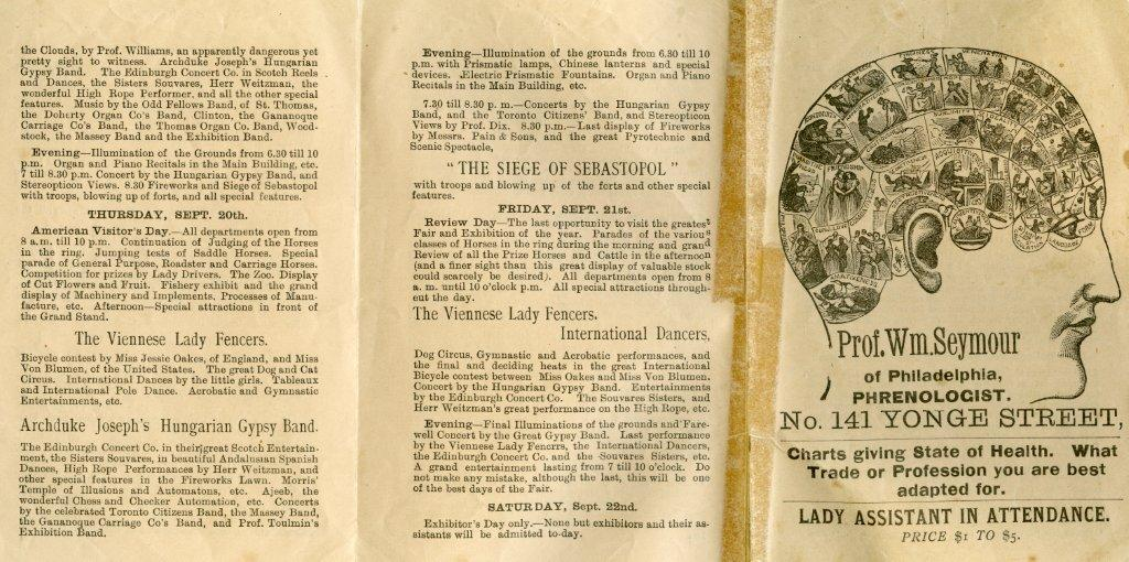 1888 Programme With Ad For Professor Seymour's Phrenology