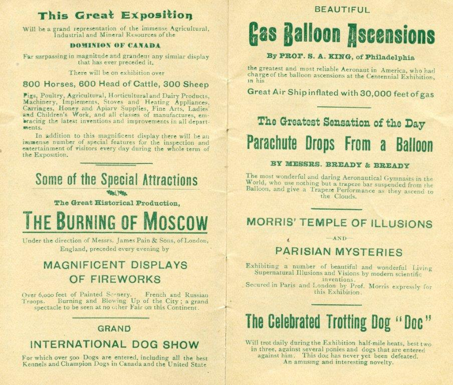 1889 Attractions As Outlined In Official Programme