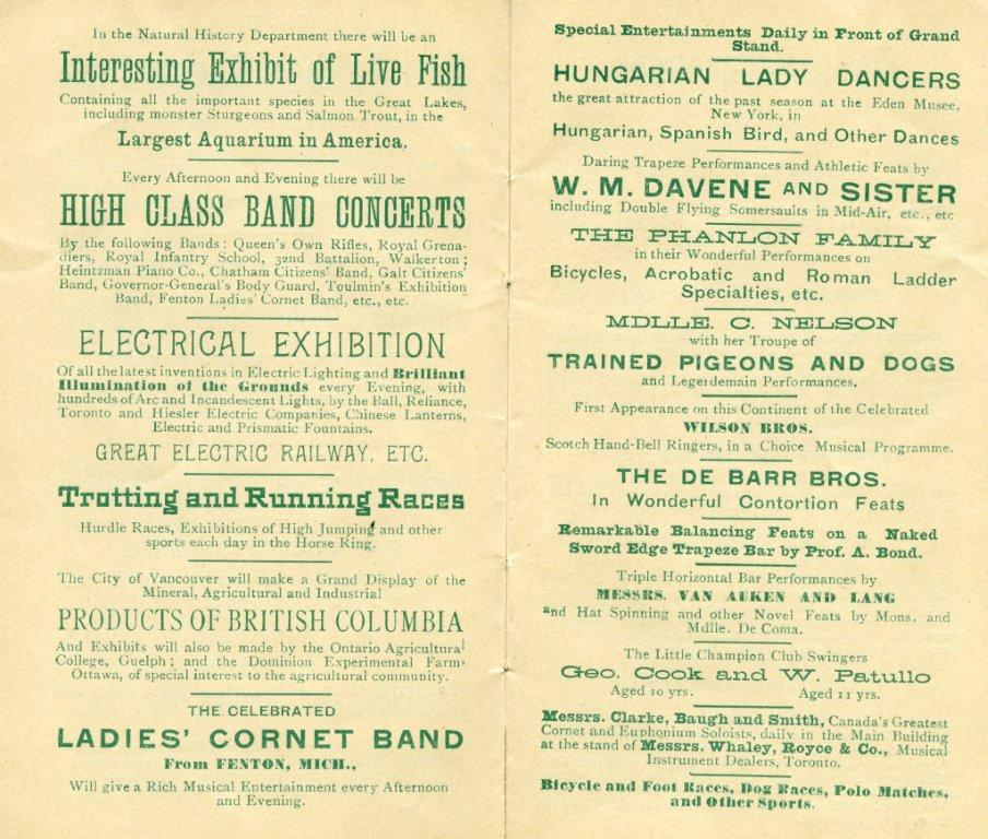 More Attractions Featured In The 1889 Programme