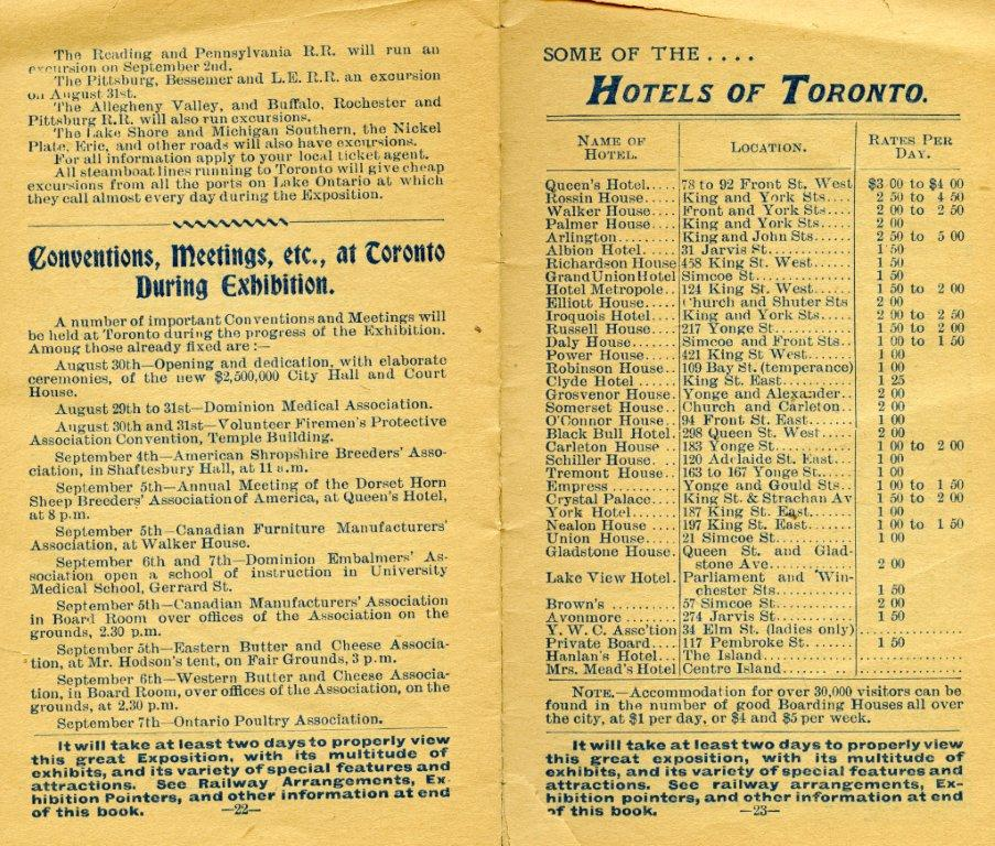 Hotel  and  Convention Listing In 1899 Programme