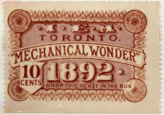 1892 Ticket To The Mechanical Wonder