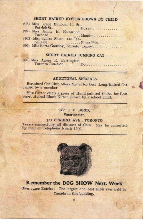 Inside Back Cover Of The 1906 Cat Show Programme