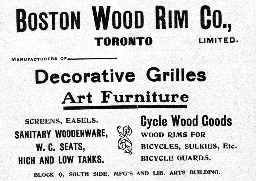 Boston Wood Rim Co. Ad In 1903 Exhibition Programme