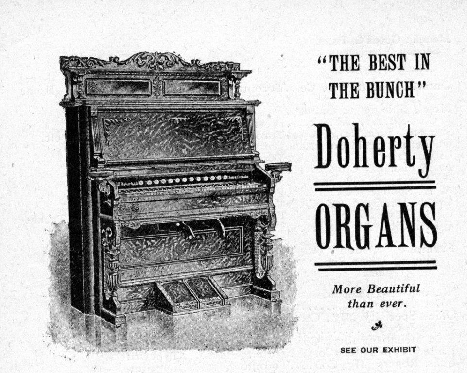 Doherty Organs Ad In Exhibition Programme, 1903