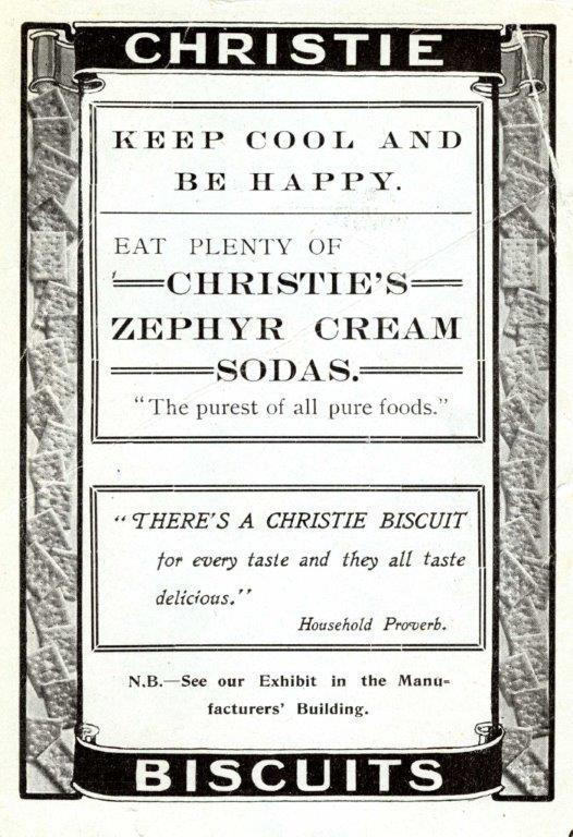 Christie Biscuits Ad In Exhibition Programme,1910