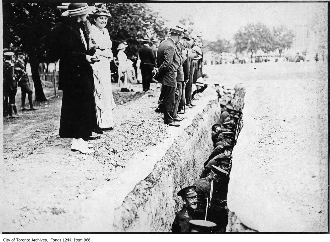 CNE Visitors Watching Soldiers In Trench Demonstration During The Great War