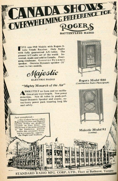 Ad For Rogers Batteryless Radio In 1929 Programme