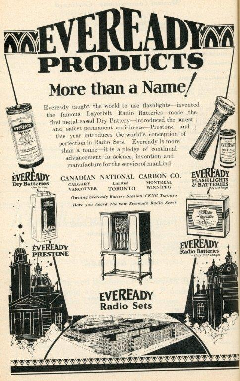 Everyready Ad In 1929 CNE Programme