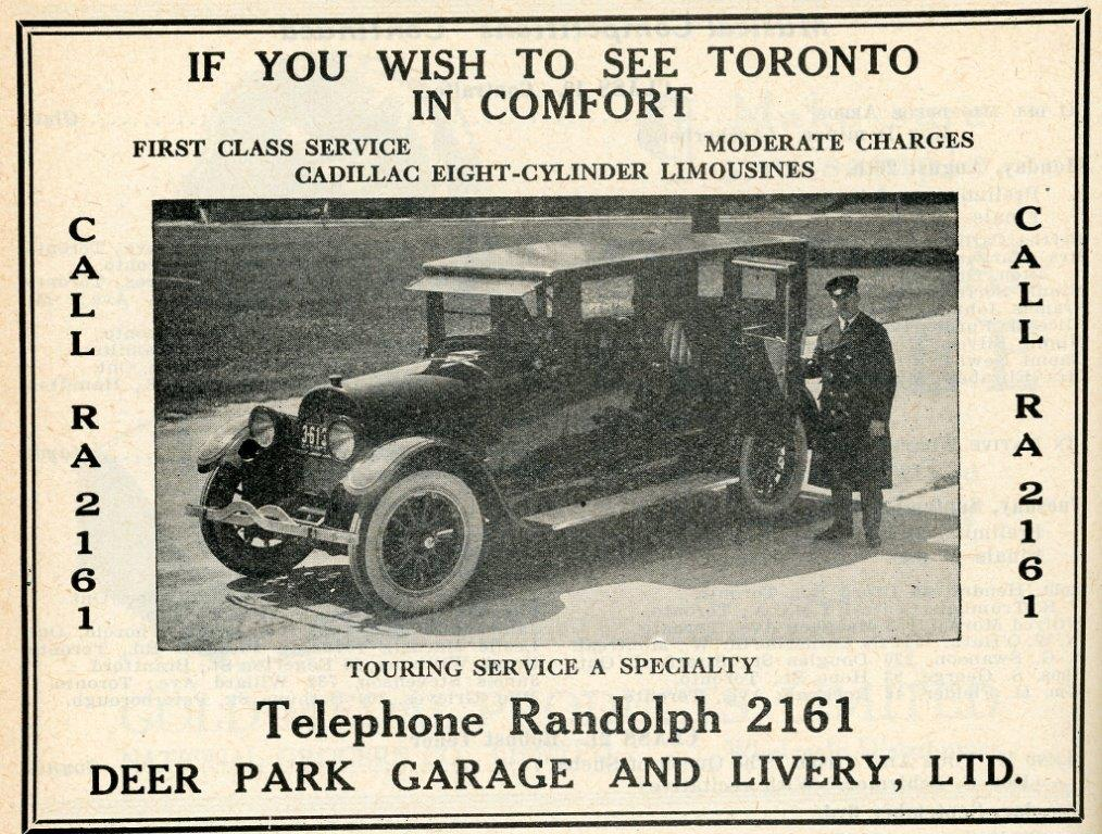 Ad For Deer Park Garage  and  Livery In 1929 Programme
